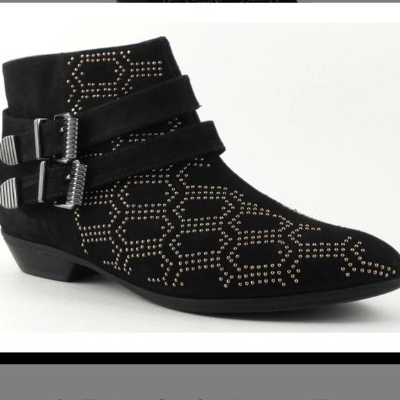 SCHUTZ Black Carletta Nubuck Studded Ankle…